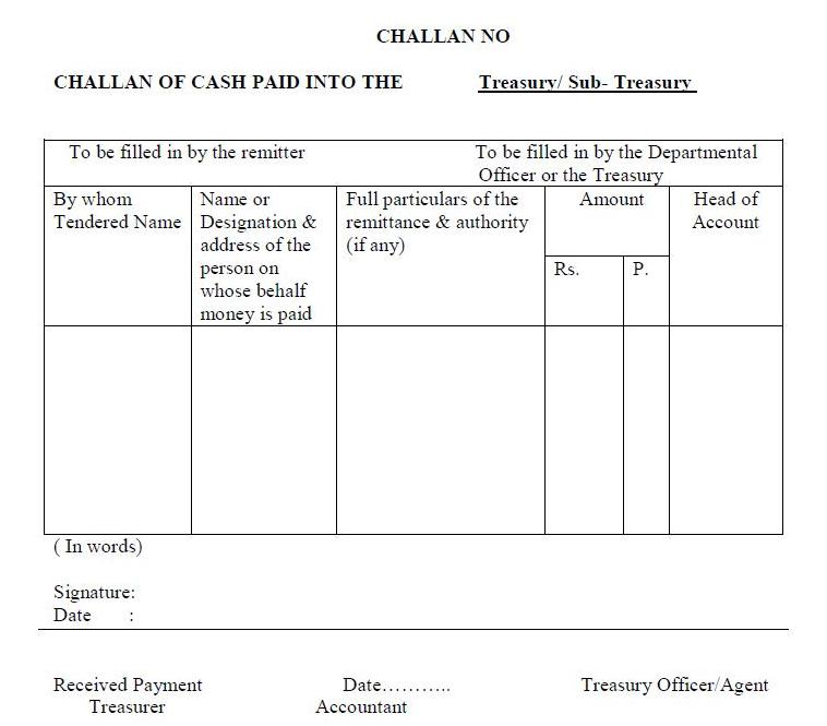 Treasury Challan Form Pdf Odisha
